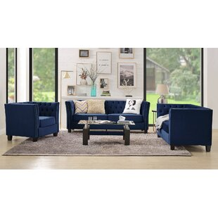 Helland 3 Piece Living Room Set by Everly Quinn