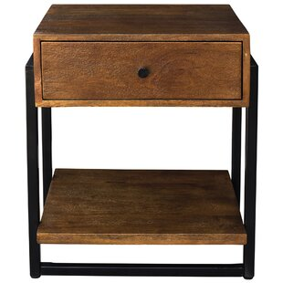 Union Rustic Lowe Solid Mango Wood and Metal End Table