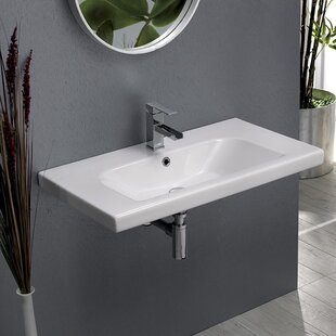 CeraStyle by Nameeks Ceramic Rectangular Drop-In Bathroom Sink with Overflow
