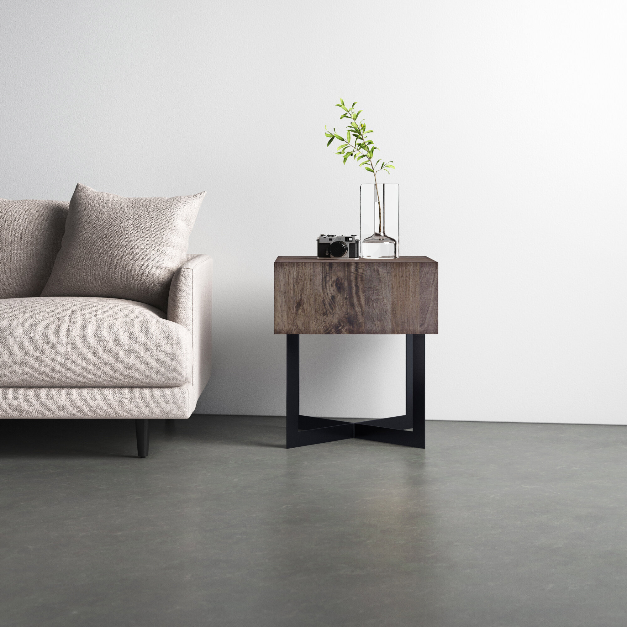 Brunello Sled End Table With Storage Reviews Allmodern