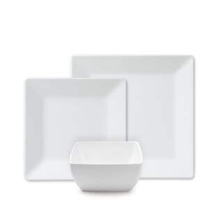 Channel Square 12 Piece Melamine Dinnerware Set, Service for 4