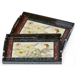 Hartwick 2 Piece Carnation Serving Tray Set