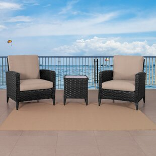 Drucilla Wide 3 Piece Rattan Conversation Set with Cushions