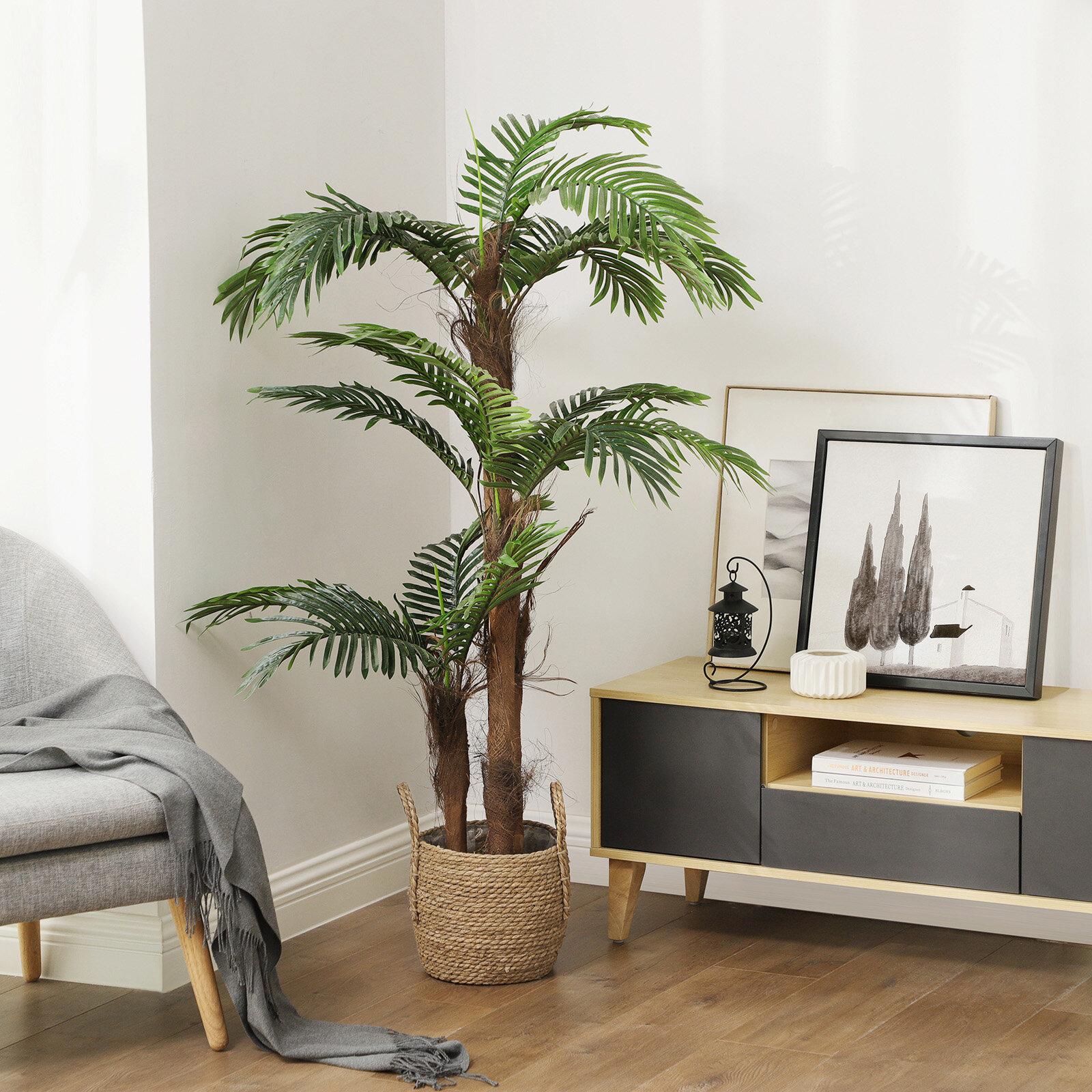 Primrue 55 Artificial Palm Tree In Pot Reviews Wayfair