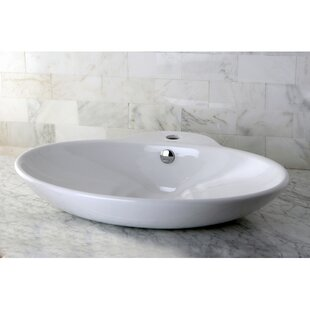 Buying Oliva Ceramic Oval Vessel Bathroom Sink with Overflow By Kingston Brass