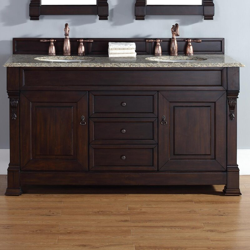 "Bathroom Vanity Drawers darby home co bedrock 60"" double burnished mahogany bathroom"