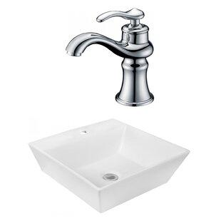 Best Reviews Ceramic Square Vessel Bathroom Sink with Faucet ByRoyal Purple Bath Kitchen