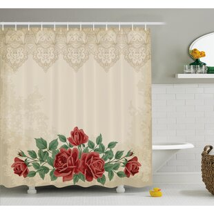 Vintage Glamour Background with Rose Love and Attraction Shower Curtain Set ByAmbesonne