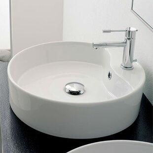 Scarabeo by Nameeks Geo Ceramic Circular Vessel Bathroom Sink with Overflow