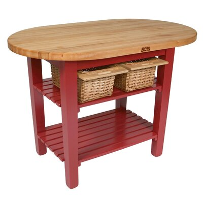 Elegant Eliptical C Table Kitchen Island With Butcher Block Top