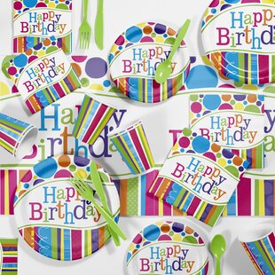 Bright and Bold Birthday Party Paper/Plastic Supplies Kit (Set of 85)