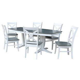 Aarush 7 Piece Extendable Solid Wood Dining Set Rosecliff Heights