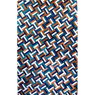 Hortense Hand-Woven Cowhide Teal/Blue Area Rug By Brayden Studio