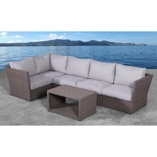 Cody 6 Piece Rattan Sectional Seating Group with Cushions
