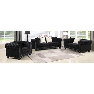 Everly Quinn Flavin Upholstered 3 Piece Living Room Set