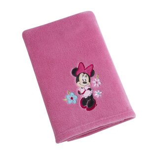Minnie Solid Coral Fleece Blanket with Applique By Disney