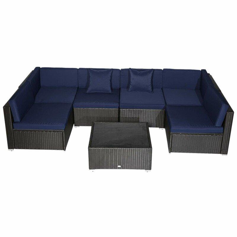 Orren Ellis Mazie 7 Piece Wicker Rattan Sofa Sectional Outdoor Patio
