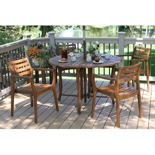 Outdoor Interiors 5-Piece Erin Eucalyptus Dining Set
