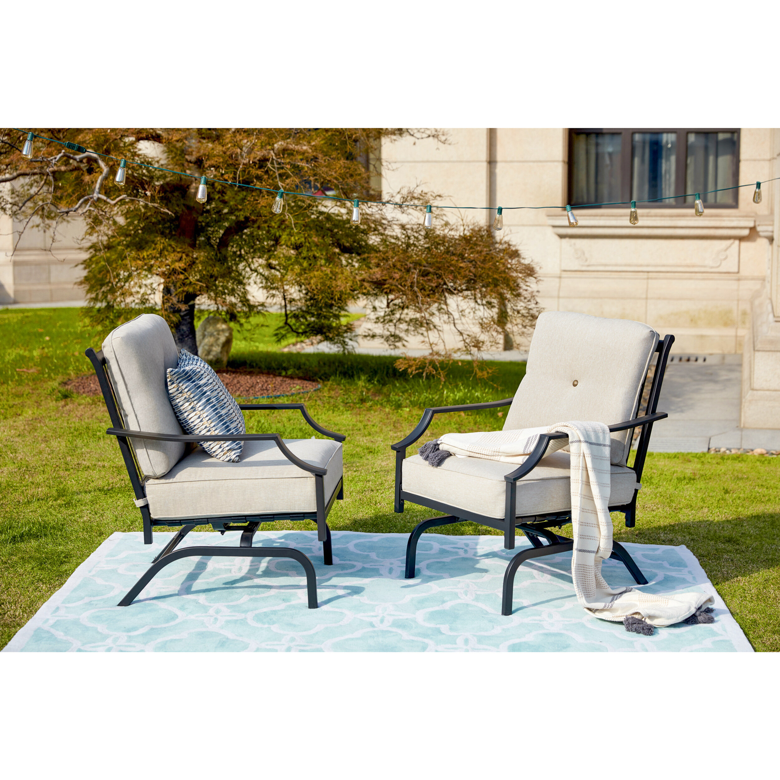 Siemens Outdoor Spring Rocking Chair With Cushions