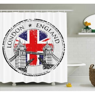 London England Grunge Stamp Single Shower Curtain