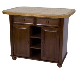 Sunset Selections Nutmeg Kitchen Island with Wood Top by Sunset Trading