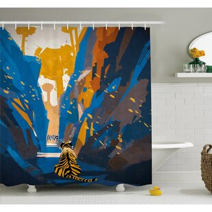 House African Tiger in City Streets Narrow Walls Digital Jungle Savannah Shower Curtain Set