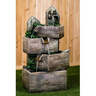 Hi-Line Gift Ltd. Resin Multi-Level Pouring Crates Fountain with LED Light