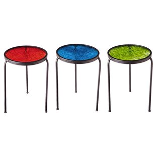 Rhea Glass Top Garden Table (Set of 3)