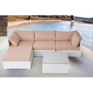 Brussels 5 Piece Rattan Sectional Seating Group with Cushions