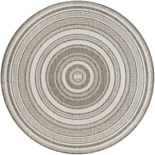Anguila Stripe Taupe Indoor/Outdoor Area Rug by Beachcrest Home