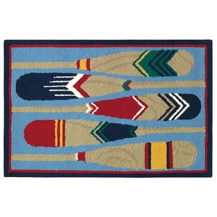 Paddles Hand-Hooked Blue/Brown Indoor/Outdoor Area Rug