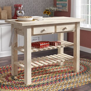 Kailee Kitchen Island with Butcher Block Top Mistana