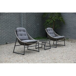 Clapham 3 Piece Rattan Conversation Set with Cushions by Bungalow Rose