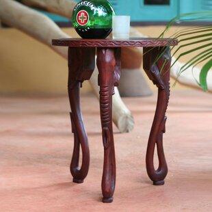 Elephants Wood End Table by Novica
