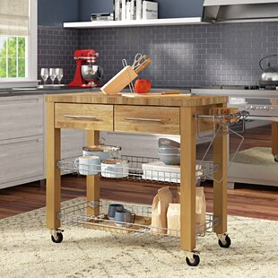 Sydney Kitchen Cart with Butcher Block Top Ebern Designs