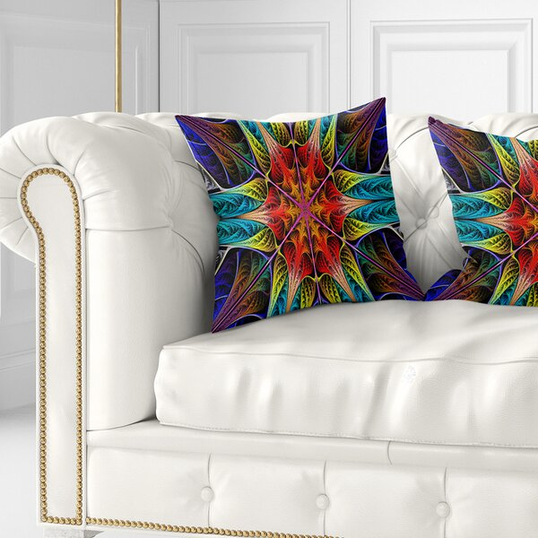 East Urban Home Abstract Colorful Fractal Stained Glass Pillow Wayfair