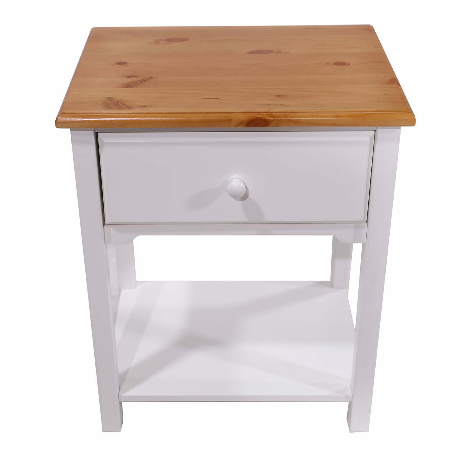 Red Barrel Studio Dundalk 1 Drawer Solid Wood Nightstand In White