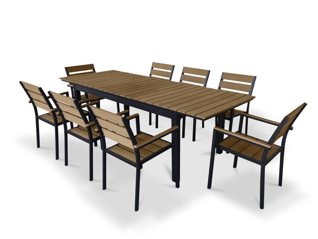 9 Piece Extendable Outdoor Dining Set