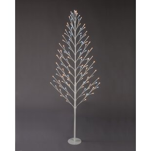 4ft artificial christmas tree with 96 clearwhite lights white and warm white - White Twig Christmas Tree