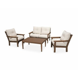 POLYWOOD® Vineyard 4 Piece Sofa Set with Sunbrella Cushions
