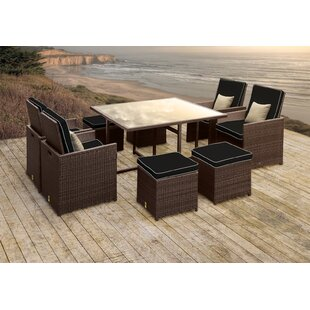 Solis Patio Stella II Patio Rattan 9 Piece Dining Set with Cushions and Square Toss Pillows