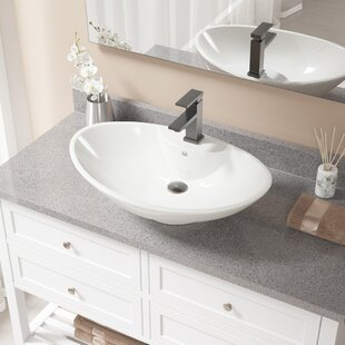 Vitreous China Oval Vessel Bathroom Sink with Faucet and Overflow By MR Direct