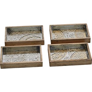 4 Piece Wood Serving Tray Set