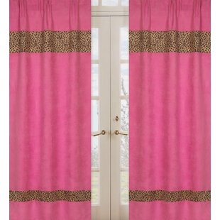 Cheetah Pink Animal Print Semi Sheer Rod Pocket Curtain Panels Set Of 2