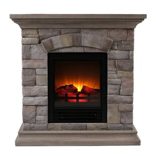 Ozzie Portable Faux Stone Electric Fireplace by Millwood Pines