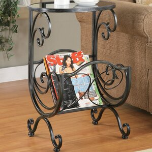 Hayton End Table with Magazine Rack in Gun Metal by Charlton Home