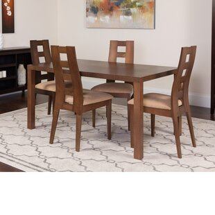 Hudkins 5 Piece Solid Wood Dining Set by Winston Porter