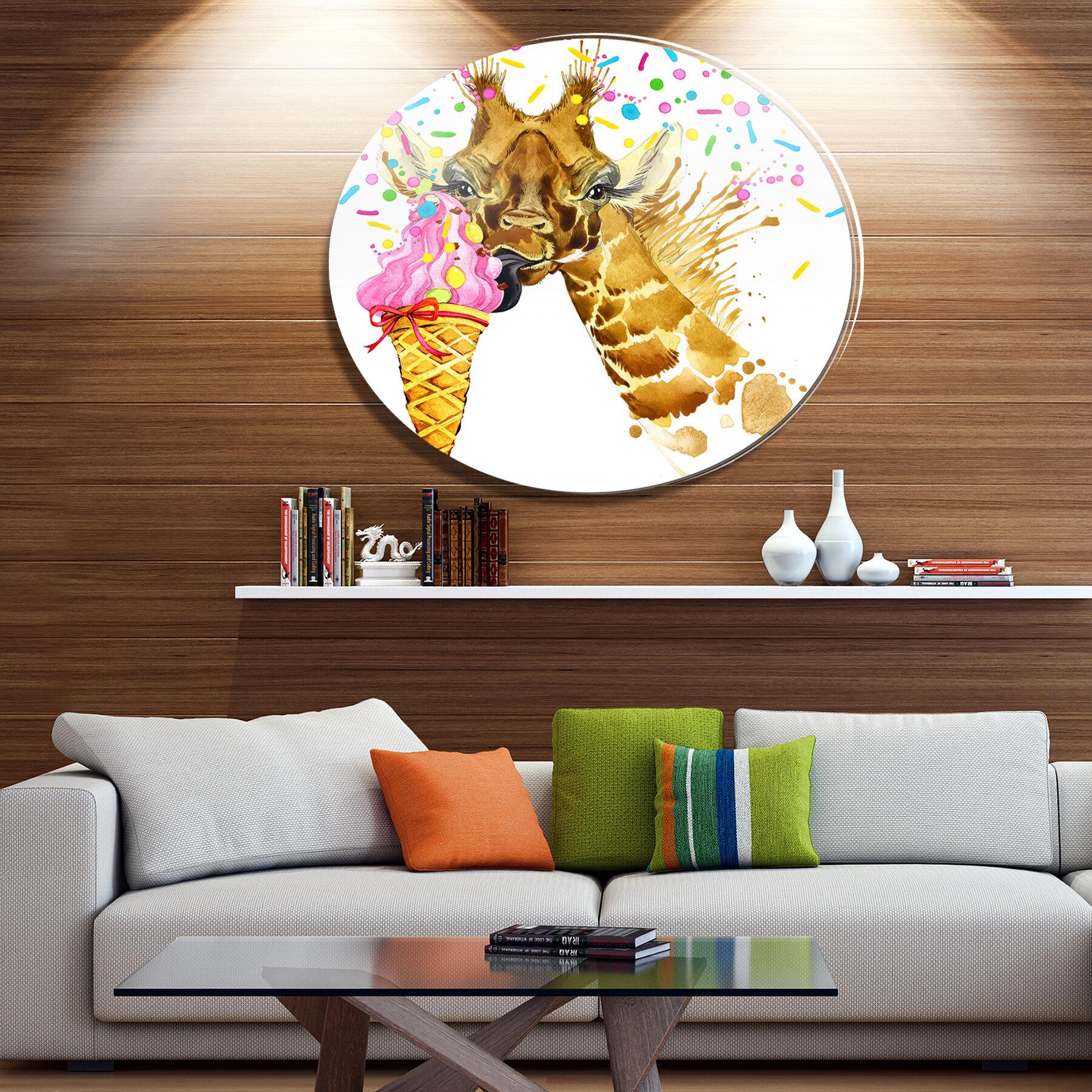Designart Giraffe Eating Ice Cream Watercolor Oil Painting