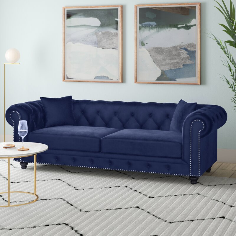 Kruse Velvet Chesterfield 90 Rolled Arm Sofa Reviews Joss Main