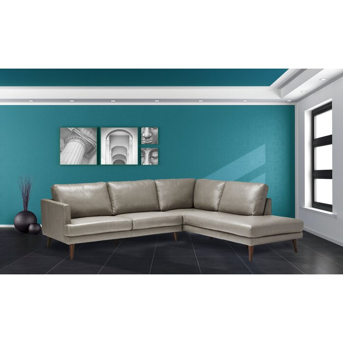 Fabulous Ainsley Right Hand Facing Leather Sectional Pabps2019 Chair Design Images Pabps2019Com